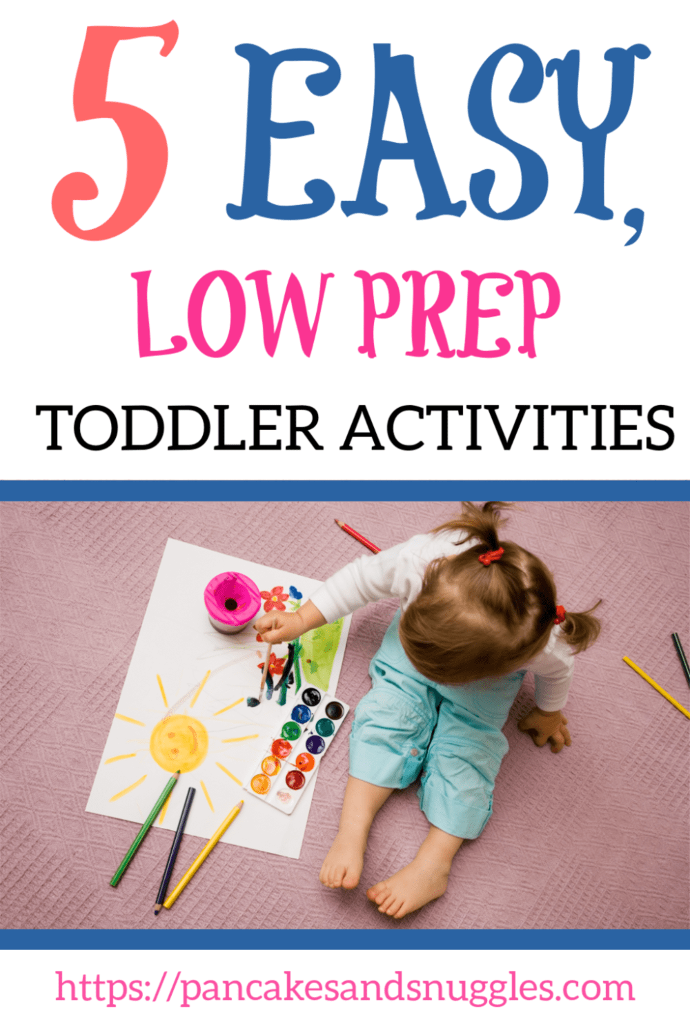 Looking for something to keep your toddler occupied while you whip up dinner? Look no further! Here are 5 easy, low prep toddler activities. #toddleractivities, #toddlerlife