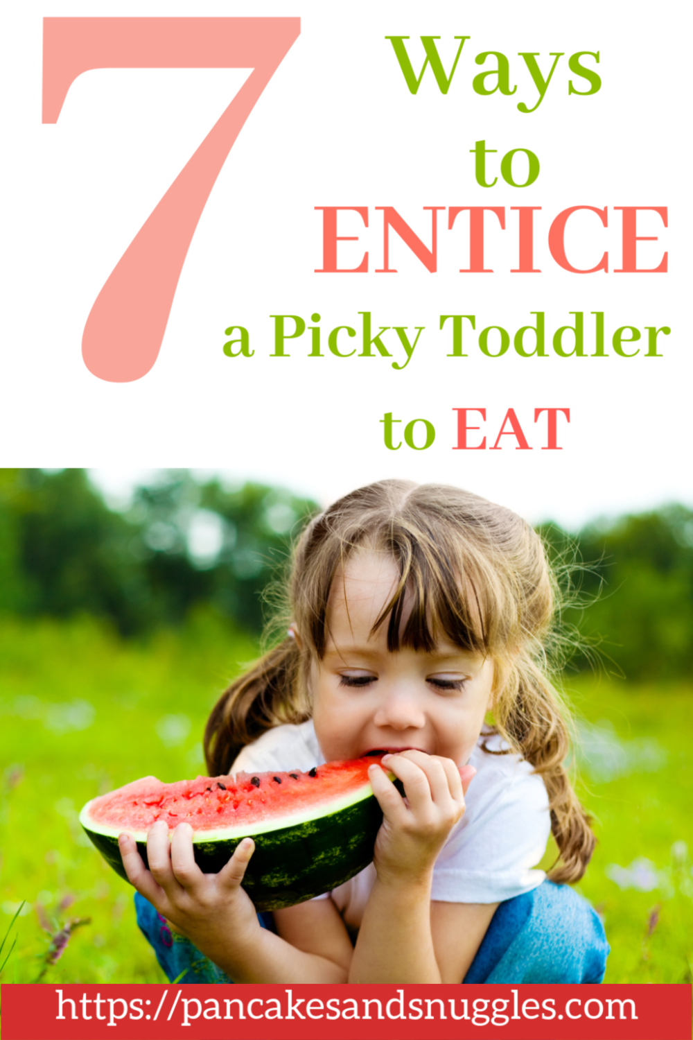 Looking for some ideas on how to get a picky toddler to eat? Look no further! Check out 7 of my ideas. Pin now, read later!